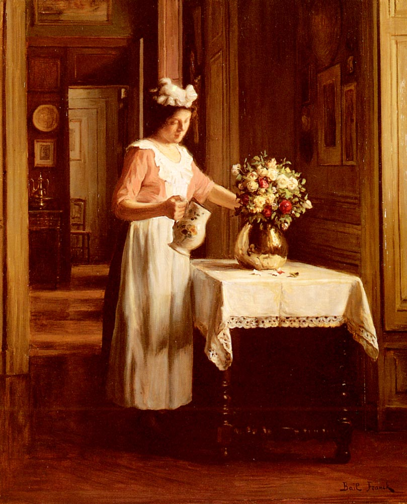 A Maid Watering Flowers